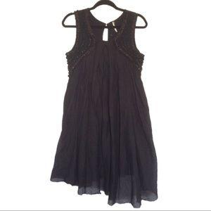 Free People Black Beaded Cotton Blend Dress